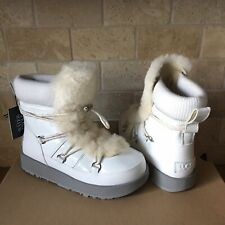 UGG HIGHLAND WHITE WATERPROOF PATENT LEATHER SNOW SHORT BOOT SHOE SIZE 8 WOMENS