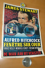 GRACE KELLY JAMES STEWART HITCHCOCK REAR WINDOW 1954 BELGIAN POSTER AFFICHE
