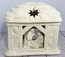 PartyLite Nativity O Holy Night Tea Light Candle Holder Manger Bisque P0108