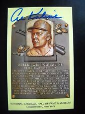 "AL KALINE AUTOGRAPHED COOPERSTOWN HALL OF FAME PLAQUE POSTCARD ""DETROIT TIGERS"""