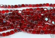 50 CzechMates Two Hole 2-Hole Tile Glass Beads Celsian-Siam Ruby 6mm