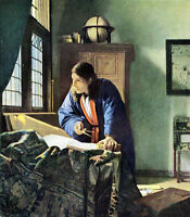 """Beautiful Oil painting Johannes Vermeer - Young man portrait The Geographer 36"""""""