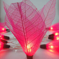 20 Pink Bodhi Rose Leave Flower Fairy Lights String Wedding Party Patio 3.5m