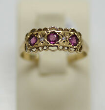 Victorian English 9K yellow gold ring with diamonds & ruby, Size - 9, signed