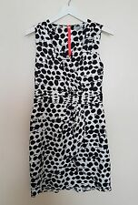 H&M Dress Asymetric Hem Wrap Fitted Front Black White Neon Zip Plunge UK 12 38