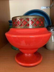 VIntage Orange Glass Rose Posy Vase 60's 70's - Czech Art Glass?