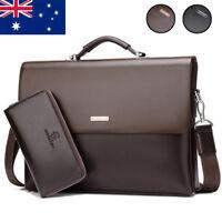 New Men's Leather Briefcase Shoulder Messenger Bags Business Laptop Bags