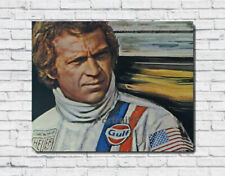 Steve McQueen Oil Painting Portrait Hand-Painted Art Canvas Not a Print 30x40 in