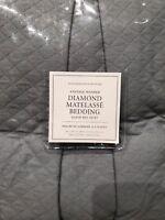 NWT Restoration Hardware Vintage Washed Diamond Matelasse Queen Bed Skirt Blue
