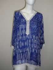 Ladies Tunic Top Size L/XL Shirt Blouse Lace Blue Comfy Summer Lined Sheer