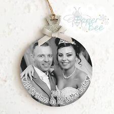 Handmade Personalised Photo Christmas Bauble Wood Plaque/Sign Picture Decoration