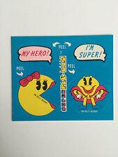 1982 SUPER PAC-MAN MY HERO / I'M SUPER NM STICKER WAX PACK CARDS VIDEO GAME
