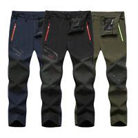 Men Outdoor Sport Hiking Thin Quick Drying Trousers Climbing Soft Shell Pants ~