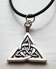 "Celtico KNOT Trinity Triquetra Charm A 19 "" / 48 CMS Leather Cord COLLANA Cornish"