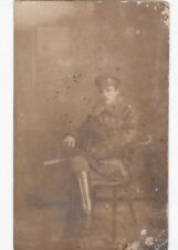 1910s Handsome young man sword leather boots WW1 Russian antique photo gay int