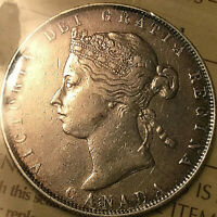 1881H CANADA SILVER VICTORIA 50 CENTS COIN - ICCS VF-30 - Cleaned