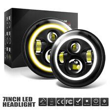 7IN LED Headlamps Amber Halo Angle Eyes Fit Jeep 97-2017 Wrangler JK LJ TJ ZME