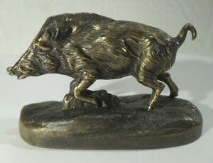 antike WILDSCHWEIN FIGUR auf Sockel Metallfigur Bronze bronziert Skulptur
