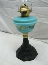Early Blue Milk Glass Mary Gregory Painted Fluid Lamp Light Cast Iron Base Oil