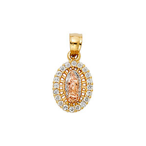 14k Yellow White Rose Gold Virgin Mary With CZ Oval Shape Tiny Pendant Charm