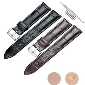 16-24mm Uhrenband Echt Lederarmband Armband Edelstahl Schnalle mit Uhrwerkzeug