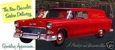 "5x7"" photo REPRINT GM CHEVROLET ADVERTISING 1955 DELIVERY SEDAN ART CARD GLOSSY"