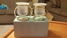 """Partylite """"Gemini"""" Frosted Glass & Brass Tealight Votive Candle Holder P7106"""
