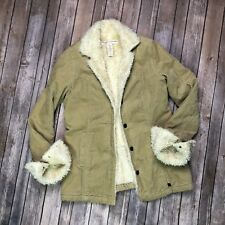 Abercrombie & Fitch Women's Small Tan Shearling Faux-Fur Lined Button Up Jacket