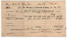 1910 HANCOCK COUNTY WEST VIRGINIA Tax Document SHERIFF Land TAXATION Payment
