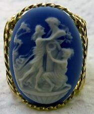 Dancing Graces Cameo Ring 14k gf Gold Blue Jewelry