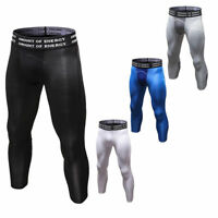 Men's Compression Tights Cropped Running Basketball Workout 3/4 Pants Quick Dry