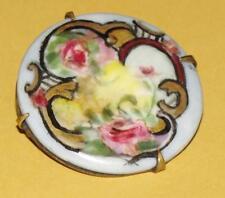 Vtg ANTIQUE~Victorian EDWARDIAN Painted PINK ROSES Floral Round PORCELAIN Brooch
