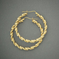 10K Yellow Gold 4mm Twisted Hollow Hoop Earrings 2 Inches diameter.