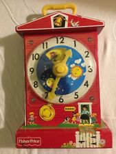 2009 Fisher-Price MUSIC BOX TEACHING CLOCK Wind Up in very good r Condition