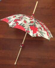 "Antique Victorian PARASOL Umbrella Painted Wood Handle.  Floral  Fabric. 35"" L."