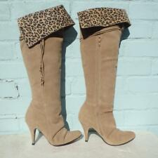 Faith Beige Suede Leather Boots Size UK 5 Eur 38  Womens Pull on Pirate Leopard