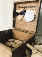 Personalised Wedding Guest Book Alternative Bride Groom Drop Box Rustic Mr & Mrs