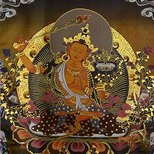 Tibetan Buddhist Buddha Silk Gild Thangka Thanka Wen Shu Manjusri Amulet 35CM