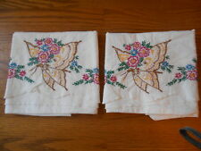 Vintage Embroidered Pillowcases, Yellow/Brown Butterfly w/ Flowers