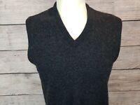 Jeff Lamb Mens L Large V-Neck Sweater Vest Black Virgin Lambswool Blend Office