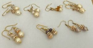Freshwater Cream Pearl Dangle Earrings on Gold Plated Wires.