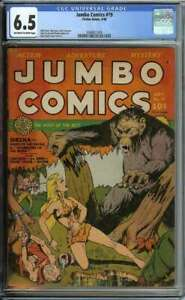 JUMBO COMICS #19 CGC 6.5 OW/WH PAGES // BOB POWELL COVER FICTION HOUSE 1940