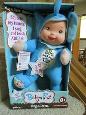 Goldberger Baby's First Sing & Learn Elephant Baby Blue Machine Washable ABC 123