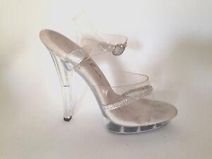 Ellie Clear Acrylic Jeweled Strap Heels Wedding Bride Club Dance Shoes 5
