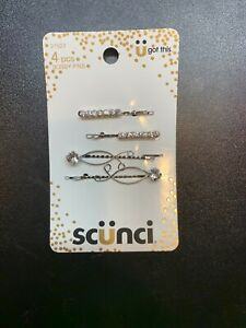 Scunci Silver tone Real Style Rhinestone Bobby Pins Barrettes, 4 Count Pack of 4
