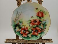 ANTIQUE LIMOGES POPPIES  HAND PAINTED PLATE ...