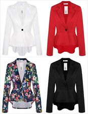 WOMENS SMART LADIES FITTED BLAZER SUIT JACKET FLORAL CASUAL OFFICE TOP Tuxedo