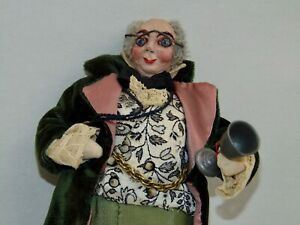 VINTAGE Character Doll FEZZIWIG? DICKENS? Cloth ARTIST SIGNED