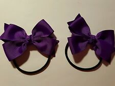 HANDMADE GIRLS SCHOOL/ ULTRA VIOLET PURPLE colour  DOUBLE BOWS HAIR TIES. A PAIR