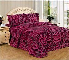 Hot Pink Zebra Print Queen Size Sheet Set 4 PC Safari Animal Print Bedding Gift